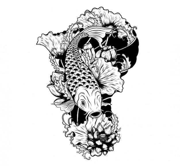 Carpa, peixe, com, loto, vetorial, tatuagem, por, mão, desenho Vetor Premium
