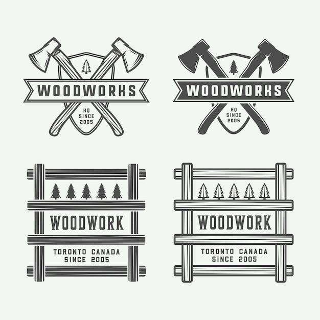 Carpintaria, emblemas de marcenaria Vetor Premium