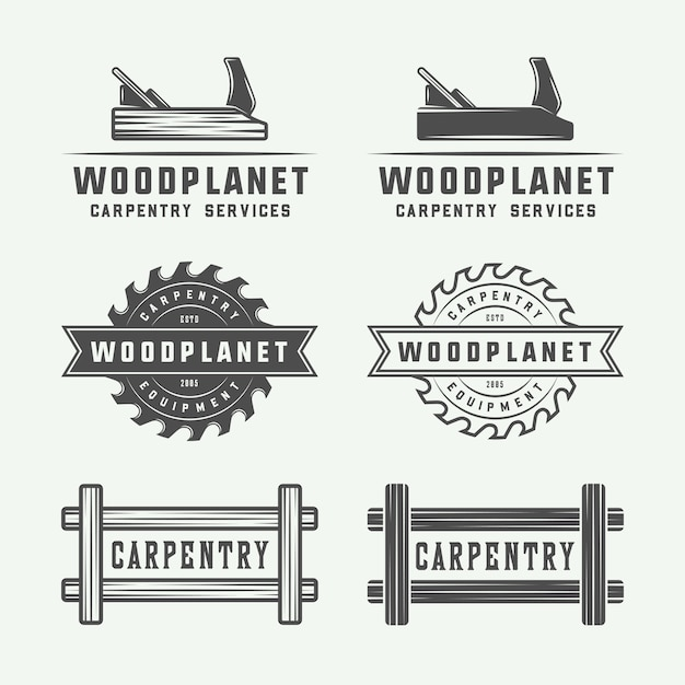 Carpintaria, logótipos de madeira Vetor Premium