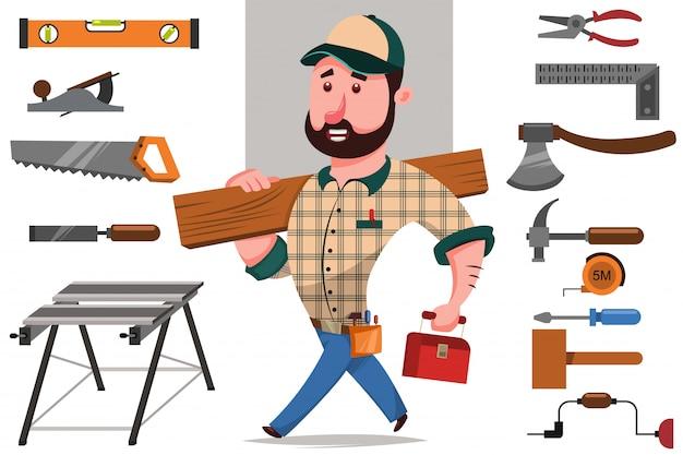 Carpinteiro com um tronco e um conjunto de ferramentas para trabalhar madeira e reparo Vetor Premium