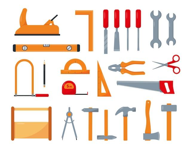 Carpinteiro ou conjunto de ferramentas de reparo isolado no fundo branco. Vetor Premium