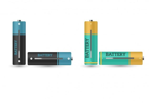 Carregador de bateria com pilhas fracas do dedo e indicadores, isolados altos. Vetor Premium