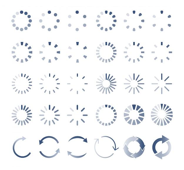 Carregador de círculo. download, upload de ícones indicadores. Vetor Premium