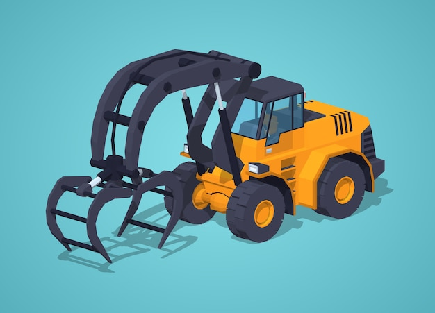 Carregador de log isométrico lowpoly 3d amarelo Vetor Premium