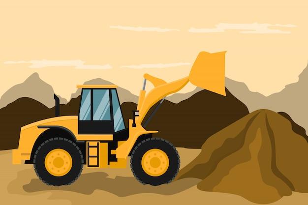 Carregador frontal que faz o trabalho de construção e mineração. maquinário pesado. Vetor Premium