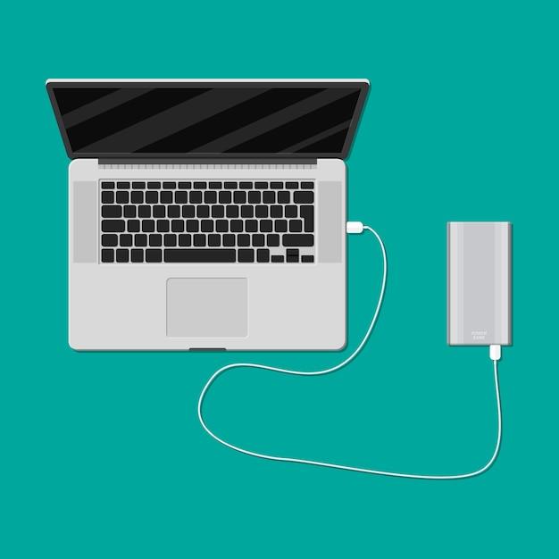Carregamento do laptop do powerbank Vetor Premium
