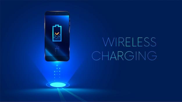 Carregamento sem fio da bateria do smartphone. conceito futuro. Vetor Premium