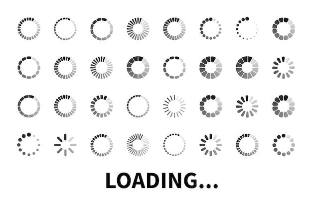 Carregando ícone grande conjunto isolado no fundo branco. ícones do carregador para uso em web design, app, interface e jogo. carregue uma placa plana, símbolo. Vetor Premium