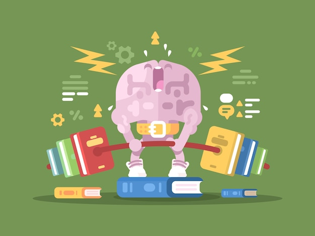 Carregando para o cérebro. cérebros de personagem levantando peso com livros. ilustração Vetor Premium