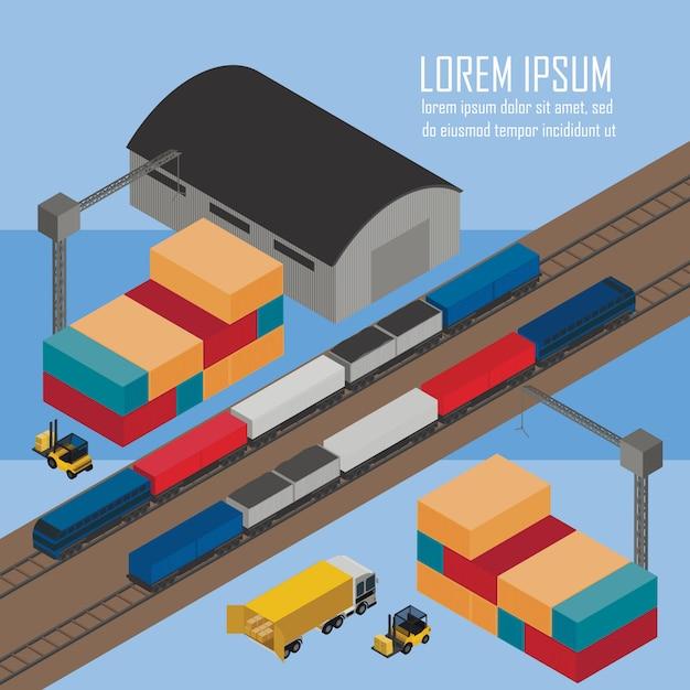 Carregar trens na ilustração isométrica da estação Vetor Premium