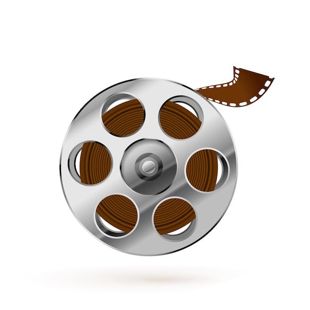 Carretel de filme realista brilhante e ícone de fita de cinema trançado isolado no fundo branco Vetor Premium