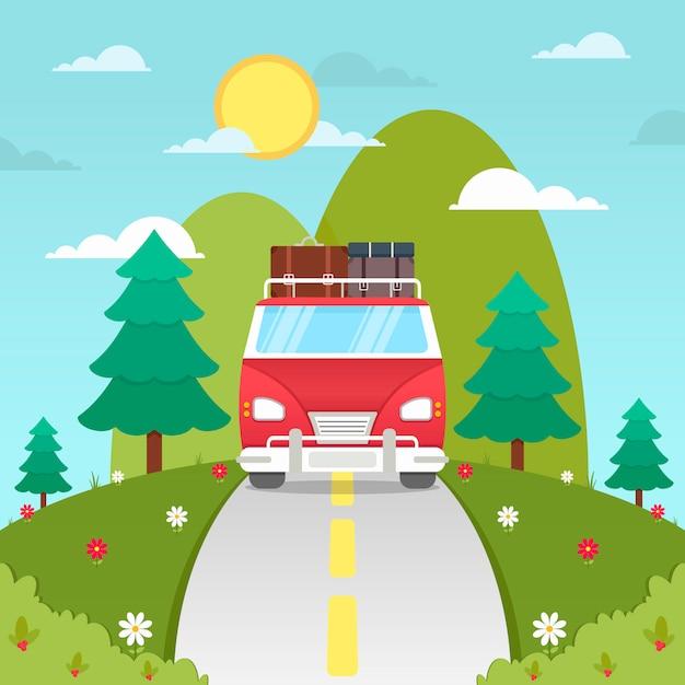 Carrinha de mão desenhada sobre o fundo de viagens de estrada Vetor grátis