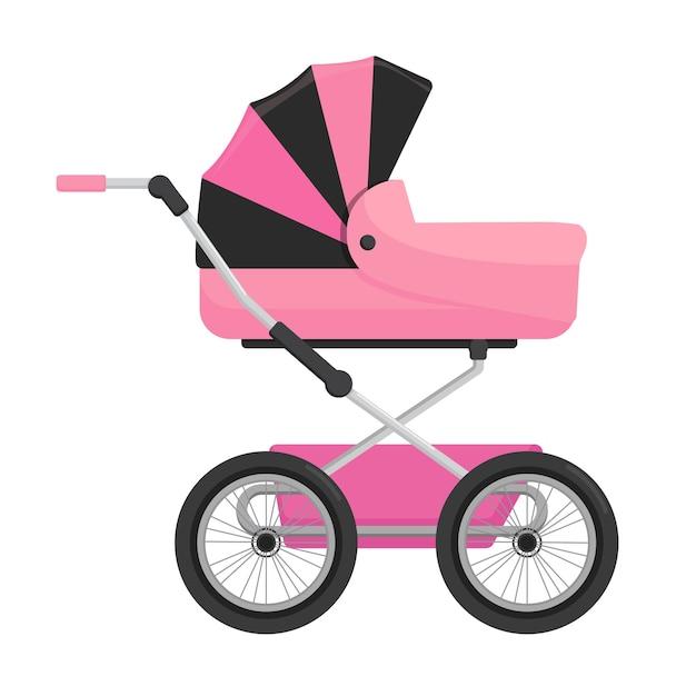 Carrinho de bebê rosa isolado no fundo branco. Vetor Premium