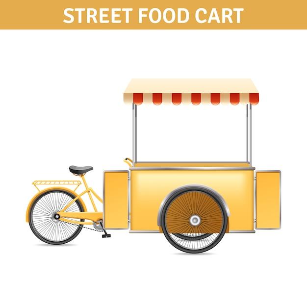Carrinho de comida de rua com portas de rodas e tenda Vetor grátis
