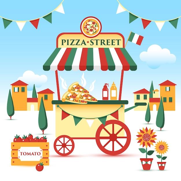 Carrinho De Comida De Rua De Pizza Ilustracao Colorida Estilo