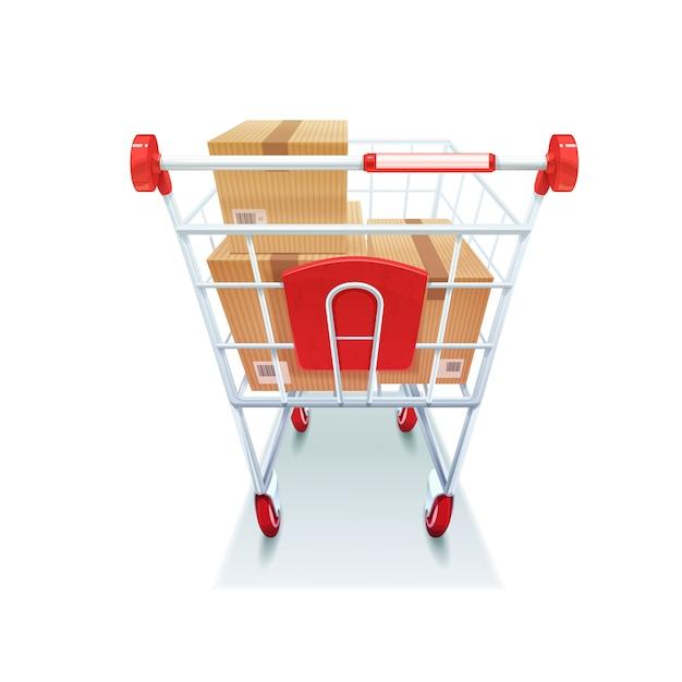 Carrinho de compras com imagem realista de caixas Vetor grátis