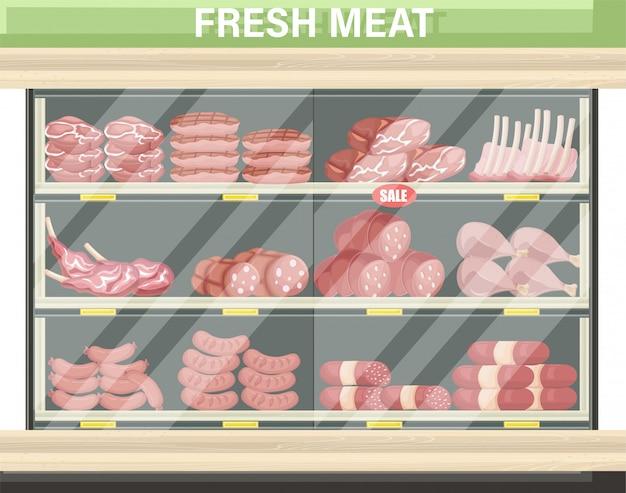 Carrinho de compras de carne Vetor Premium