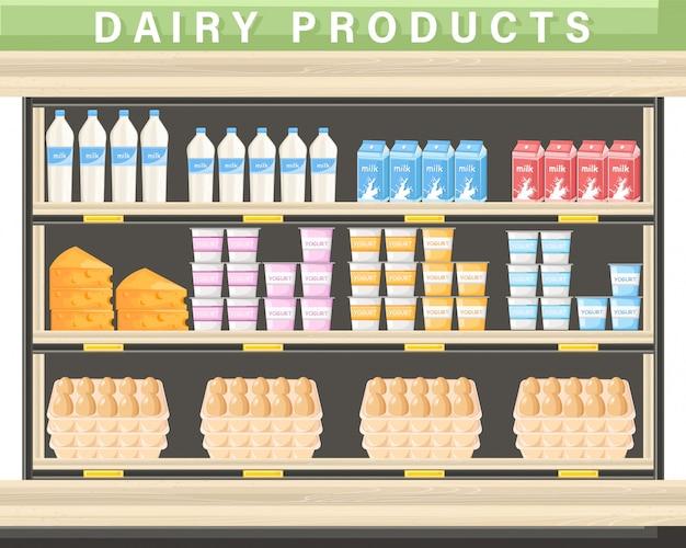 Carrinho de compras de produtos lácteos frescos Vetor Premium