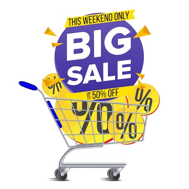 Carrinho de compras grande venda banner Vetor Premium