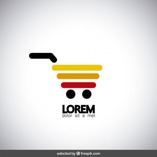 Carrinho de compras logotipo colorido Vetor grátis