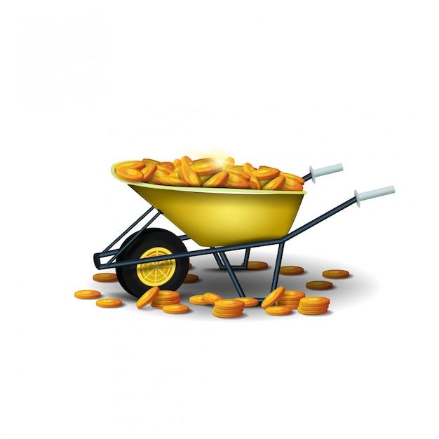 Carrinho de mão amarelo do jardim com as moedas de ouro isoladas em um fundo branco. um carrinho de mão de jardim cheio de moedas de ouro Vetor Premium