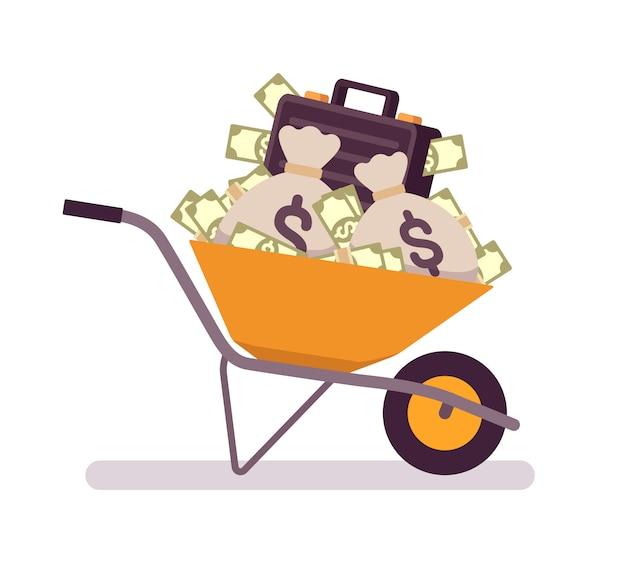 Carrinho de mão cheio de dinheiro Vetor Premium