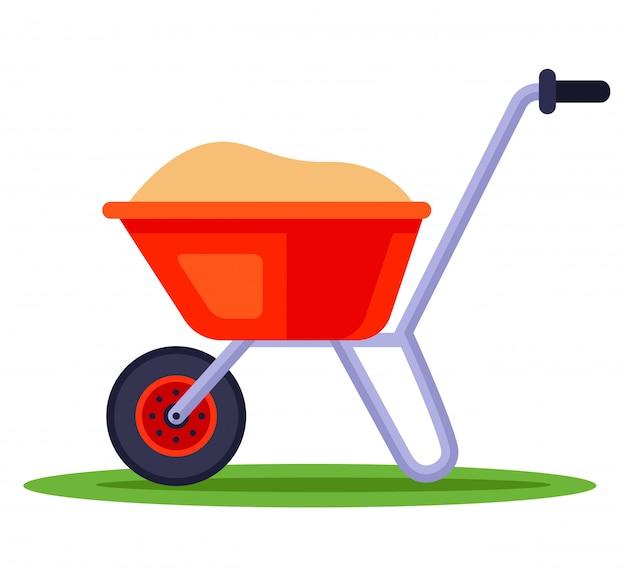 Carrinho de mão de construção com areia. transporte de fertilizantes para o jardim. ilustração em fundo branco. Vetor Premium