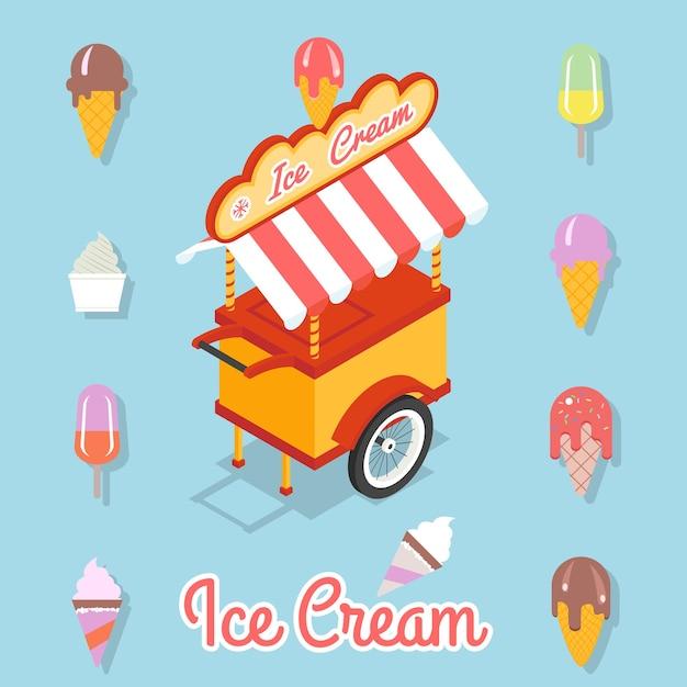 Carrinho para venda de sorvete. conjunto de diferentes tipos de sorvete em uma xícara de pau e waffle. Vetor grátis