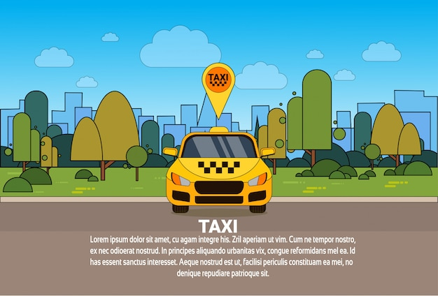Carro amarelo do táxi com conceito em linha do serviço do táxi do ponteiro do lugar dos gps Vetor Premium