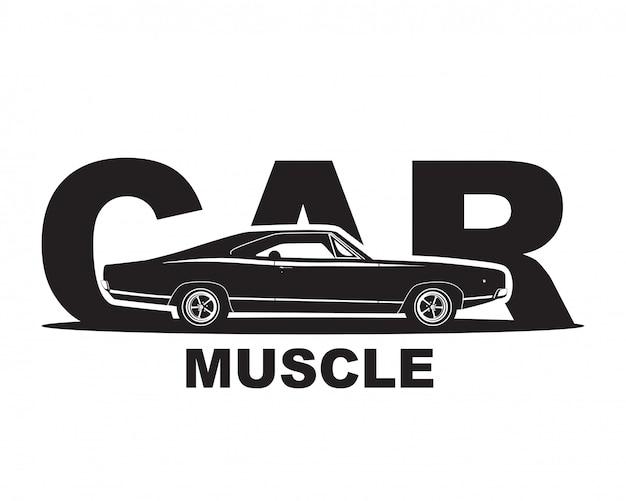 Carro americano do músculo. modelo de logotipo de garagem supercarro. Vetor Premium