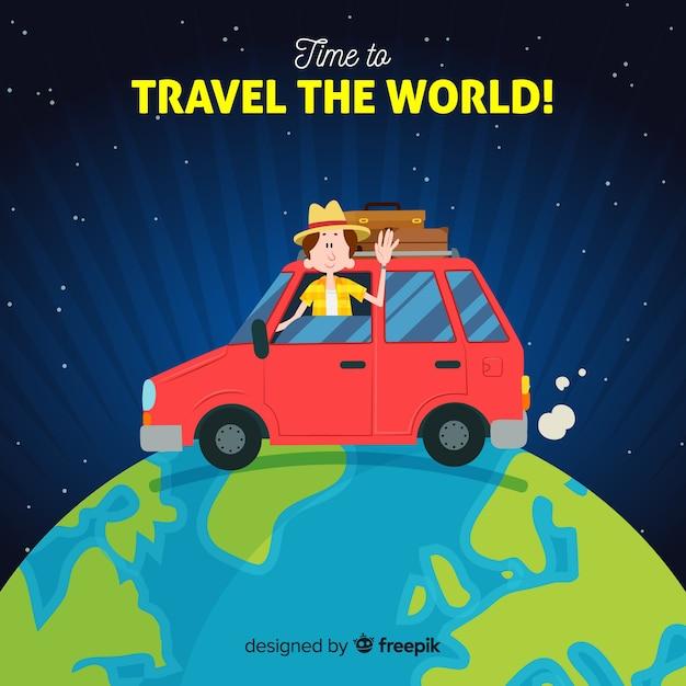 Carro ao redor do mundo viajar fundo Vetor grátis