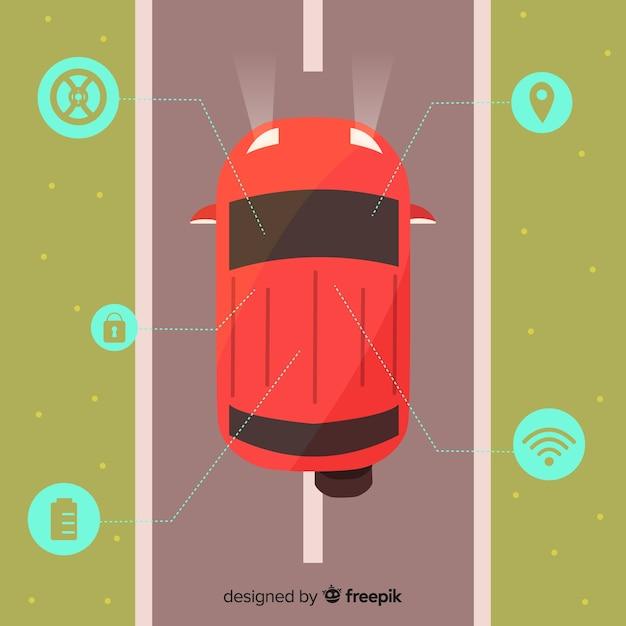 Carro autônomo com design plano Vetor grátis