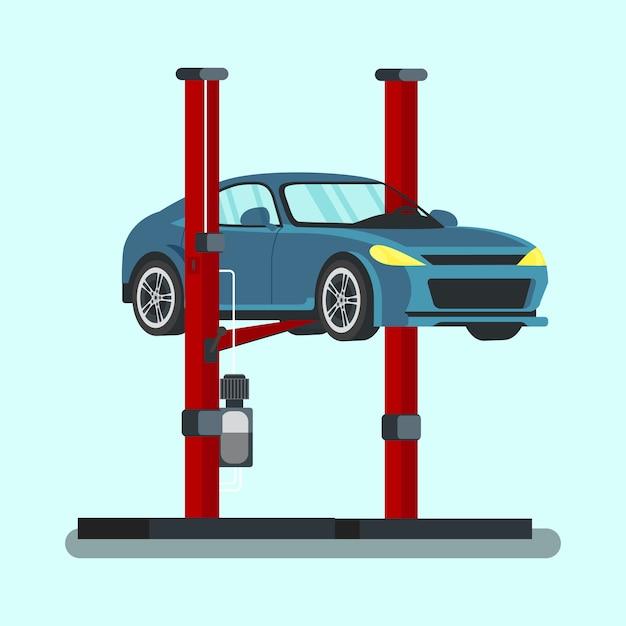 Carro azul levantado na estação de serviço. vetor. Vetor Premium