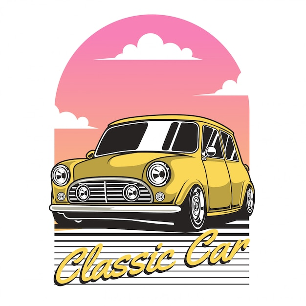 Carro clássico amarelo Vetor Premium