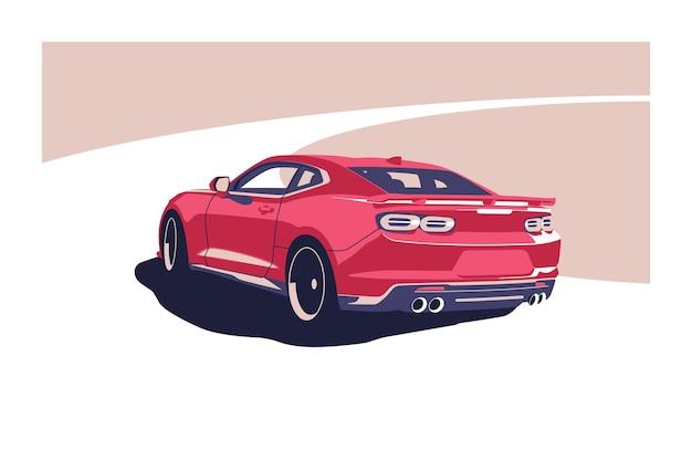 Carro clássico americano na estrada. Vetor Premium