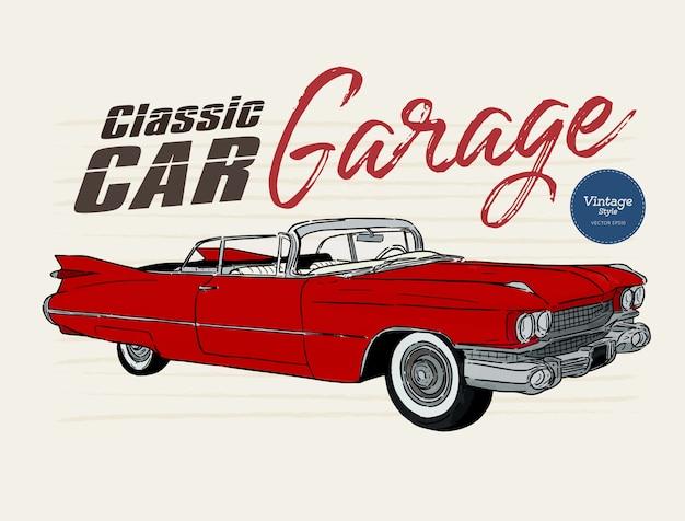Carro clássico, estilo vintage. mão desenhar desenho vetorial. Vetor Premium