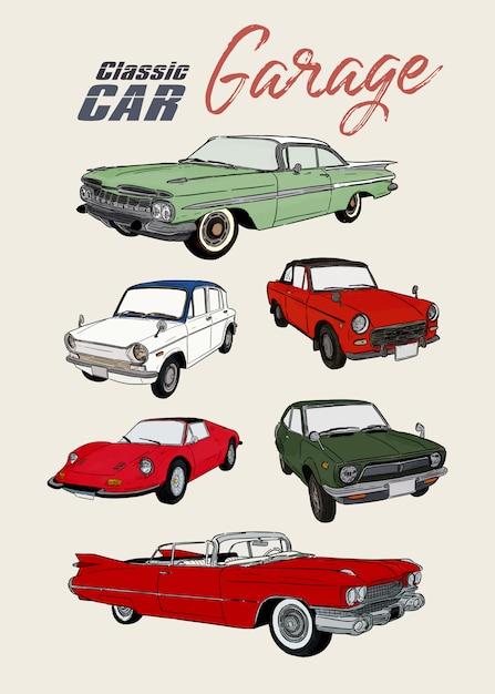 Carro clássico, mão desenhar desenho vetorial. Vetor Premium