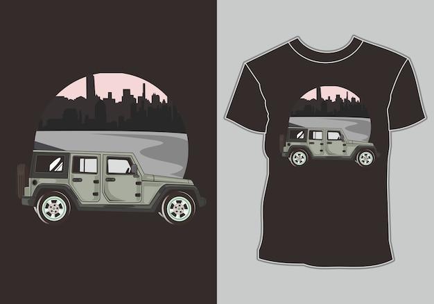 Carro clássico, retrô, vintage na periferia da cidade, imagem de camiseta Vetor Premium