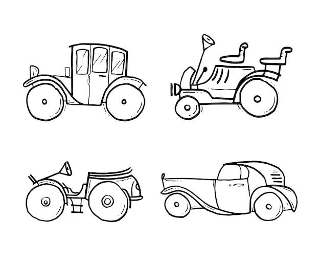 Carro Classico Tirado A Mao Linha De Carro Dos Desenhos Animados