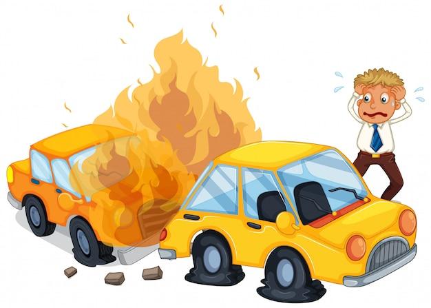 Carro de acidente pegando fogo Vetor grátis