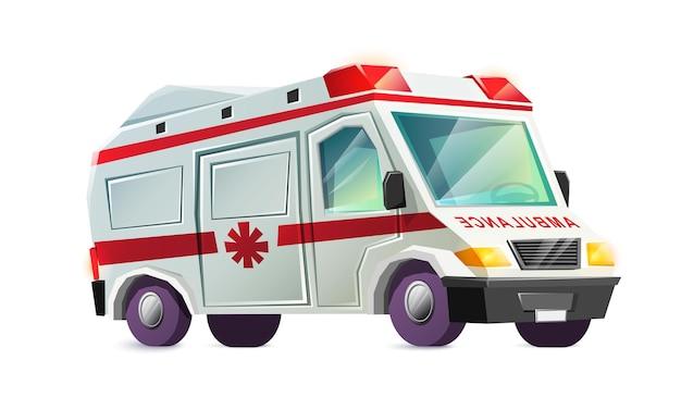 Carro de ambulância isolado no branco Vetor grátis