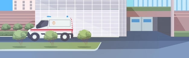 Carro de ambulância perto do hospital Vetor Premium