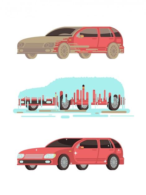 Carro de brilho sujo e limpo. Vetor Premium