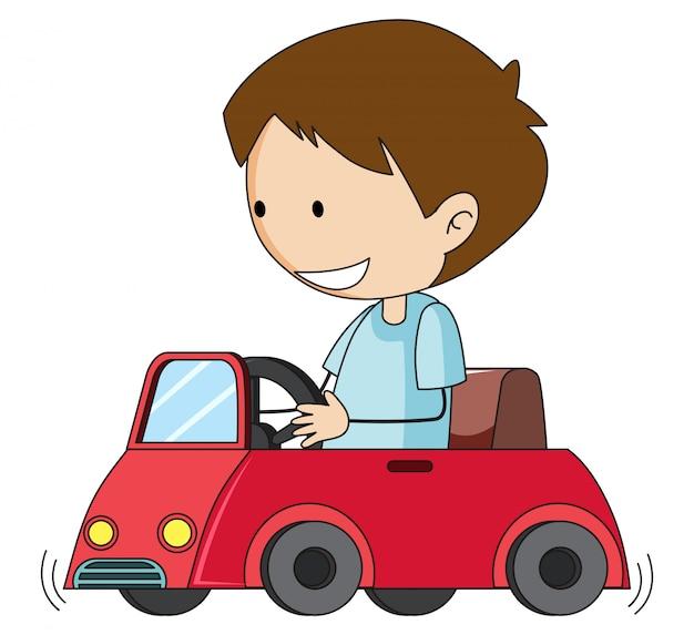 Carro de brinquedo de menino doodle Vetor Premium