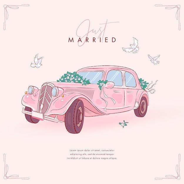 Carro de casamento desenhado à mão Vetor Premium