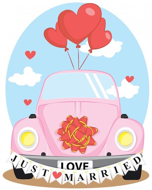 Carro de casamento recém casado com balão de amor Vetor Premium
