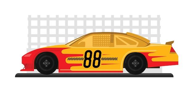 Carro de corrida amarelo está pronto para correr no autódromo Vetor Premium