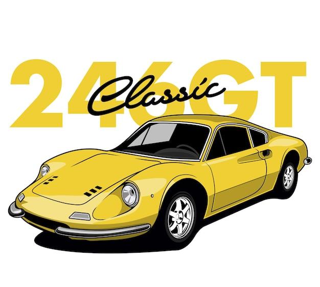 Carro de corrida amarelo Vetor Premium