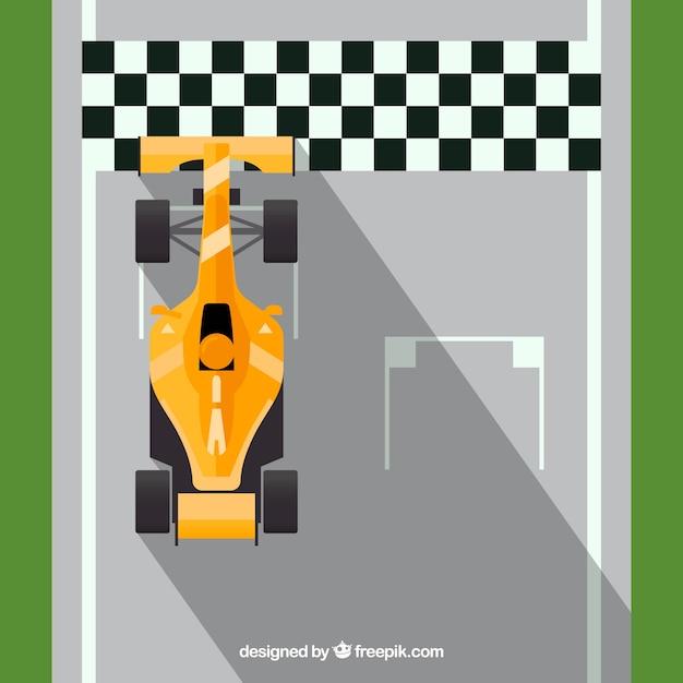 Carro de corrida de f1 cruza a linha de chegada Vetor grátis