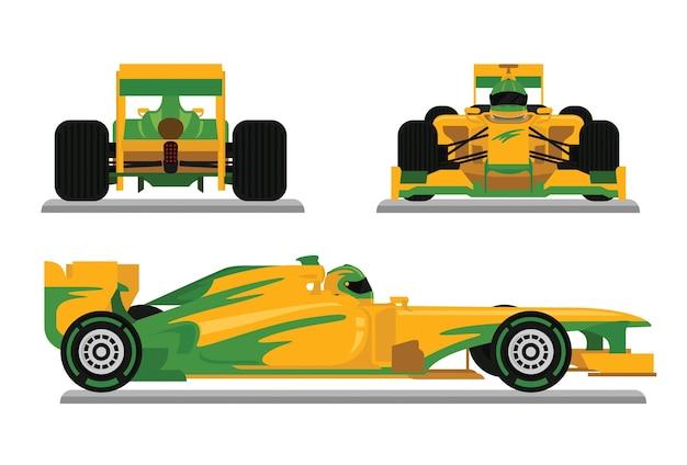 Carro de corrida de fórmula amarelo pronto para o campeonato de corrida Vetor Premium